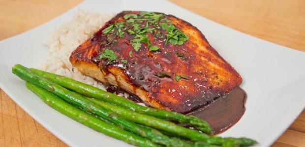Sweet Soy Salmon w/Basmati Rice & Asparagus